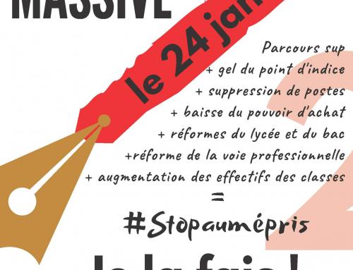 Grève et actions le jeudi 24 Janvier dans les établissements