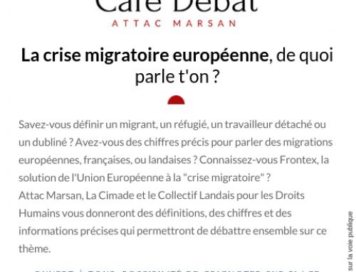 Café débat d'ATTAC le 8 février : «crise migratoire» européenne, de quoi parle t'on ?