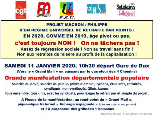 Vendredi 10 tractage et samedi 11 grande manifestation à Dax !