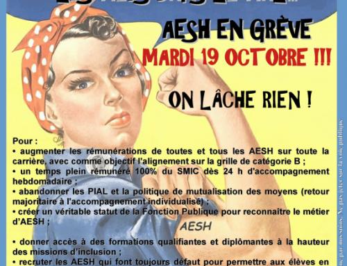 AESH EN GRÈVE le 19 octobre